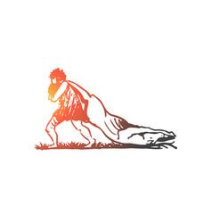 primitive man prey caveman hunter concept vector image