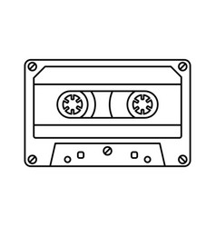 Retro cassette icon black line simple isolated vector