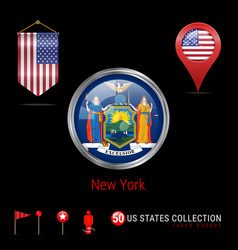 Round chrome badge with new york us state flag vector
