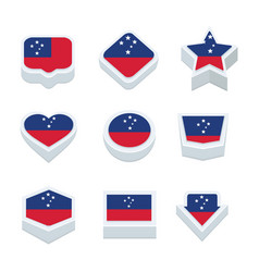 Samoa flags icons and button set nine styles vector