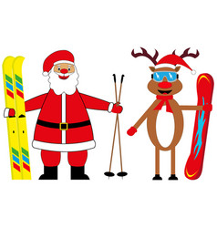 Santa claus skier and deer snowboarder vector