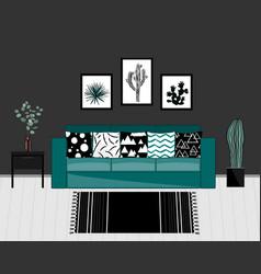 Scandinavian style livingroom interior with black vector