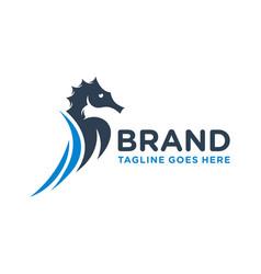 seahorse animal logo design vector image