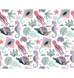 Seamless pattern with fish and sea animals vector