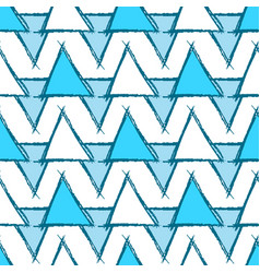 Seamless pattern with hand drawn blue triangles vector