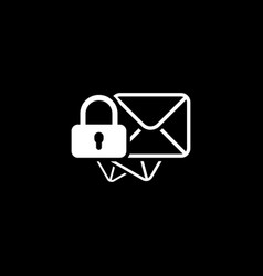 Secure mail icon flat design vector