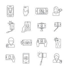selfie video photo people icons set outline style vector image