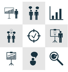 Set of 9 administration icons includes report vector