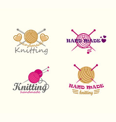 set of knitting logo elements vector image