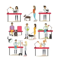 Set of vet clinic staff clients pets vector