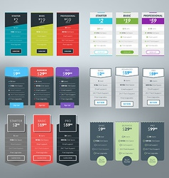 Set pricing table in flat design style vector