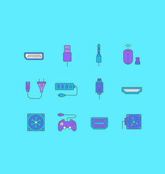 set simple line icons upgrading computer vector image