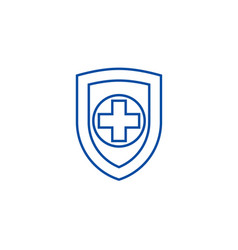 shield safequard line icon concept shield vector image
