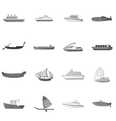 Ship and boat icons set gray monochrome style vector image