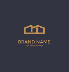 simple line house icon logo design template vector image