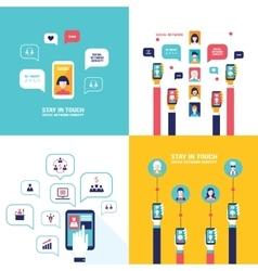 Social Network Technology Banner set User vector