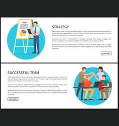 strategy and successful team promo banners set vector image