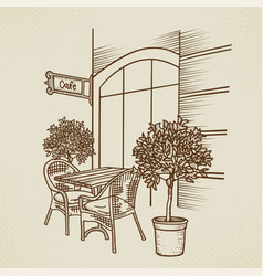street cafe in old town graphic hand drawn vector image