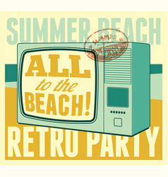 Summer beach retro party typographical poster vector