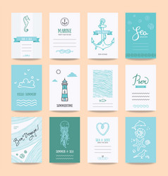 Summertime holiday cards travel posters templates vector
