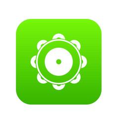 tambourine icon digital green vector image