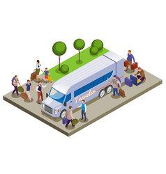 travel people isometric composition vector image