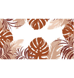 tropical red and monstera leaves seamless pattern vector image