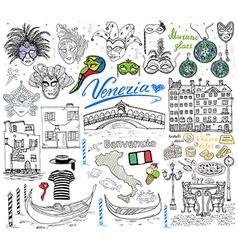 Venice italy sketch elements hand drawn set vector
