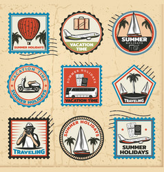 vintage colored traveling marks set vector image
