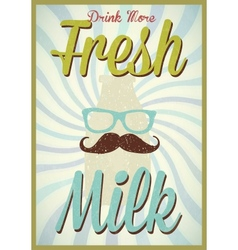 Vintage milk poster typography vector image