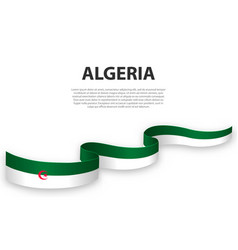 Waving ribbon or banner with flag algeria vector