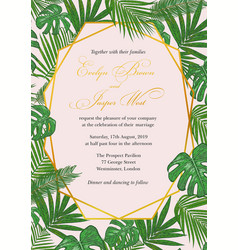 Wedding invitation in a gold frame against a backg vector
