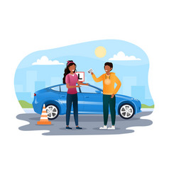 young female character is getting drivers license vector image