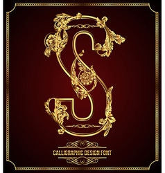 Calligraphic font Letter S vector image vector image