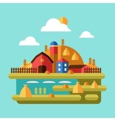Flat Design of Farm Landscape vector image vector image