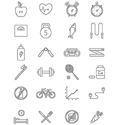 healthy life icons set vector image vector image