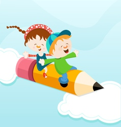 Kids On Pencil vector image