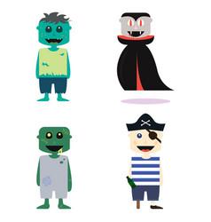 set of halloween costume zombie characters vector image