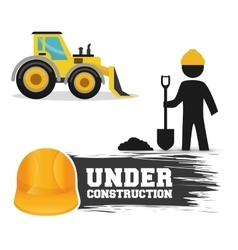 under construction worker shovel cement excavator vector image