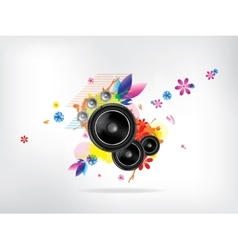 Abstract musical background with floral elements vector image vector image