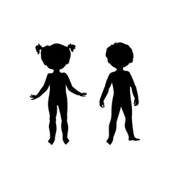 Black silhouettes of cute kids vector image vector image