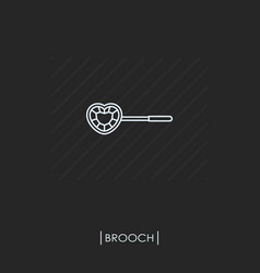brooch outline icon isolated vector image