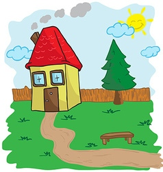house with yard and bench vector image