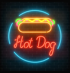 neon hot dog cafe glowing signboard on a dark vector image
