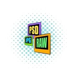 Psd jpg raw file icon comics style vector