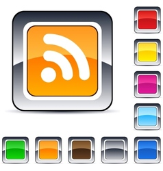 Rss square button vector image vector image