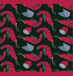 shrimp mussels and lemon seamless pattern vector image vector image