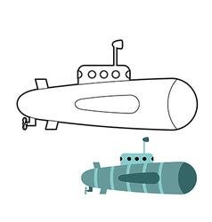 Submarine coloring book Ship to swim underwater vector image vector image