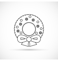 Christmas wreath thin line icon vector image vector image