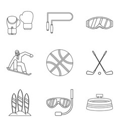 descent icons set outline style vector image